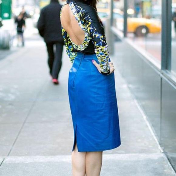 Cobalt Blue Linen Skirt  High Waist Pencil Skirt  Large